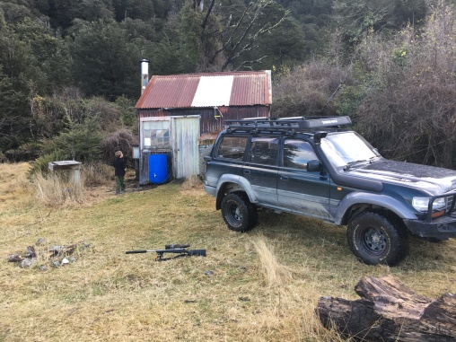 Moa hut, rifle ready to go