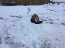 Ryan elected to build a snow cave