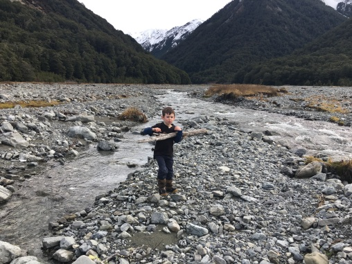 Isaac, keen to build a bridge across Basin Creek