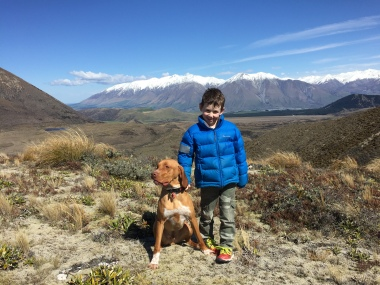 Major and Isaac with the Mt Hutt Range in the background