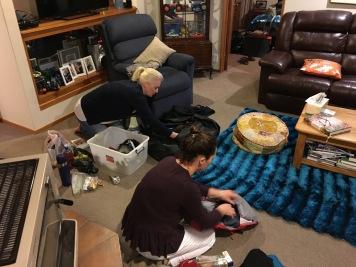 Belinda and Jolie packing their gear