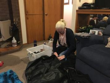 Jolie packing her gear